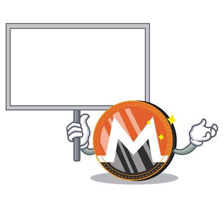 Bring board Monero coin character cartoon vector illustration
