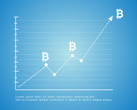 Bitcoin background on blue background vector illustration 일러스트