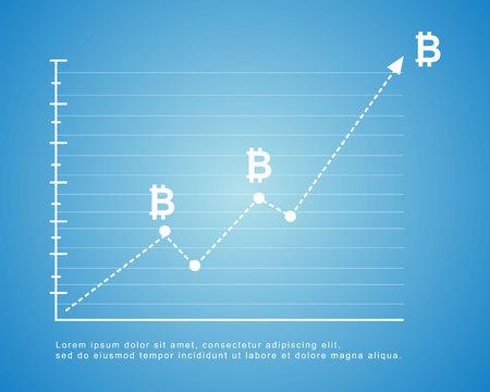 Bitcoin background on blue background vector illustration Çizim