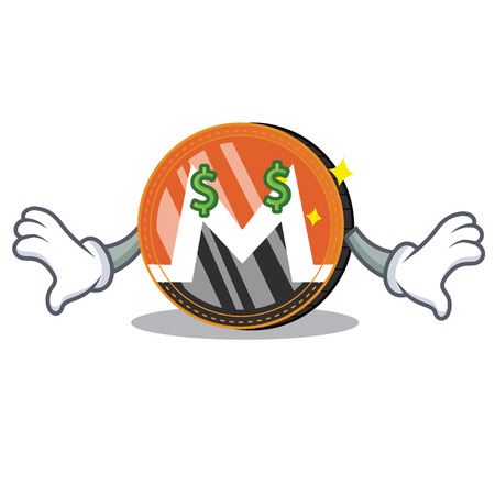 Money eye Monero coin character cartoon vector illustration