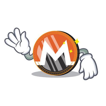 Crazy Monero coin character cartoon vector illustration