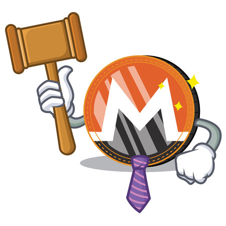 Judge Monero coin character cartoon vector illustration