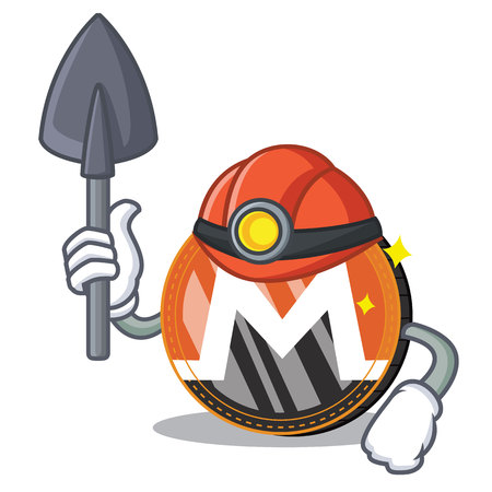 Miner Monero coin cartoon character.