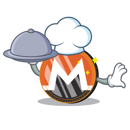 Chef with food Monero coin character cartoon vector illustration