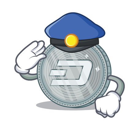 Police Dash coin character cartoon vector illustration