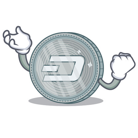 Successful Dash coin character cartoon vector illustration