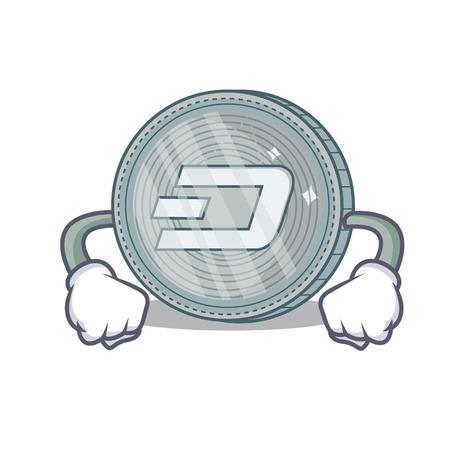 Angry Dash coin character cartoon vector illustration