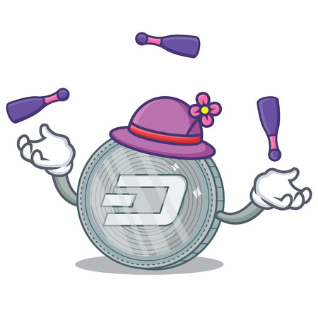 Juggling Dash coin character cartoon Stock Illustratie