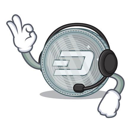 With headphone Dash coin character cartoon vector illustration Illustration