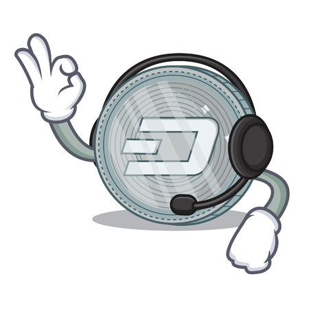 With headphone Dash coin character cartoon vector illustration 向量圖像