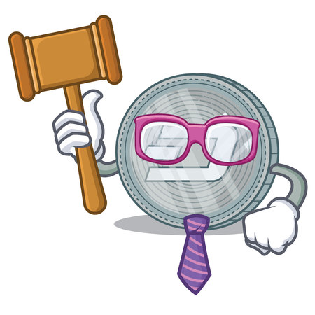 Judge Dash coin character cartoon vector illustration
