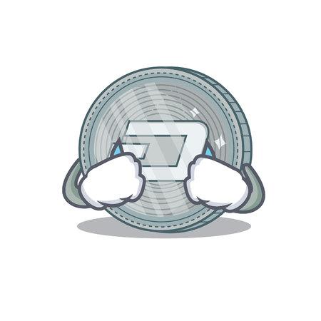 Crying Dash coin character cartoon vector illustration