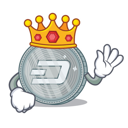 King Dash coin character cartoon vector illustration
