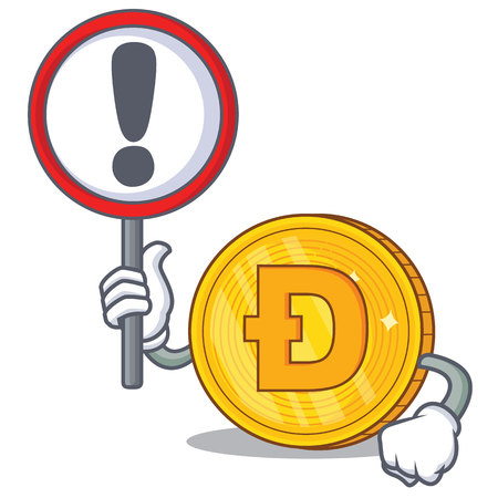 With sign Dodgecoin character cartoon style