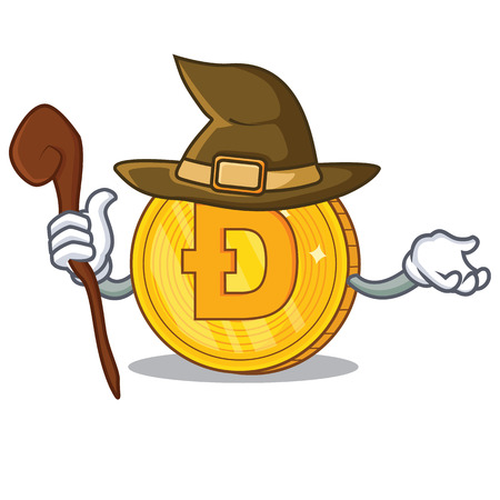 Witch Dodgecoin character cartoon style Illustration