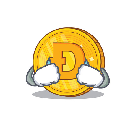 Crying Dodgecoin character cartoon style