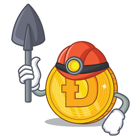 Miner Dodgecoin character cartoon style
