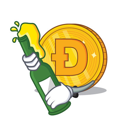 Dodgecoin character cartoon style vector illustration With beer