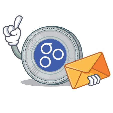 With envelope OmesiGo coin character cartoon vector illustration Illustration
