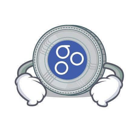 Hand on waist OmesiGo coin character cartoon vector illustration