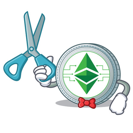 Barber Ethereum classic character cartoon vector illustration
