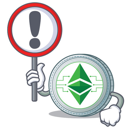 With sign Ethereum classic character cartoon Illustration