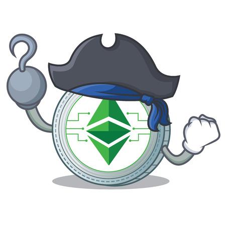 Pirate Ethereum classic character cartoon