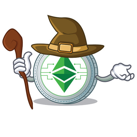 Witch Ethereum classic character cartoon vector illustration