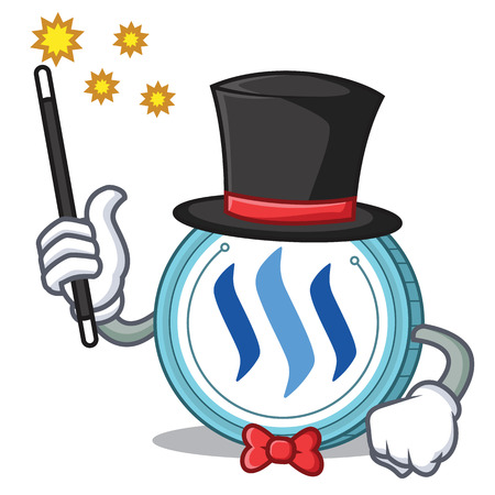 Magician Steem coin character cartoon