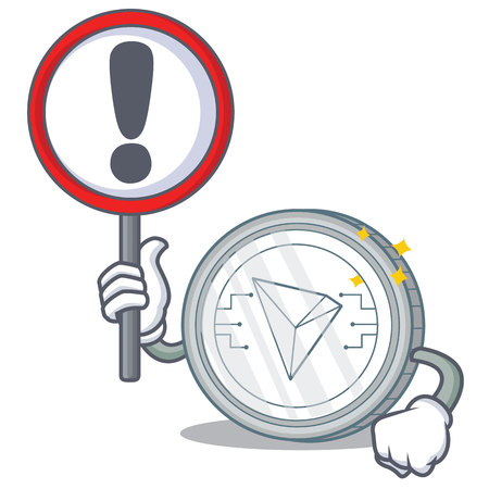 With sign Tron coin character cartoon vector illustration Illustration