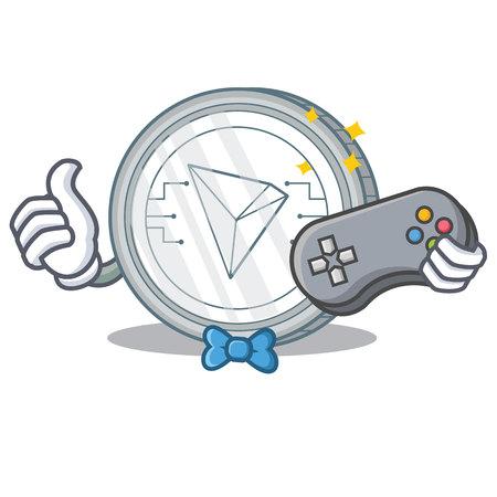 Gamer Tron coin character cartoon