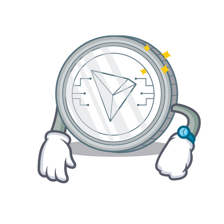 Waiting Tron coin character cartoon