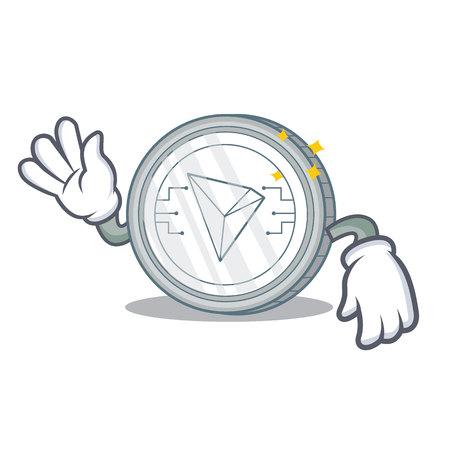 Crazy Tron coin character cartoon vector illustration