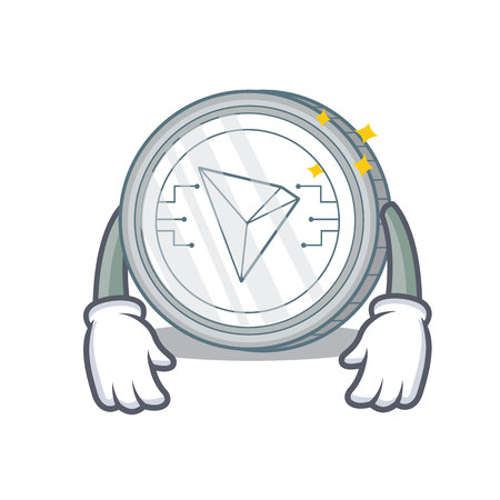 Tired Tron coin character cartoon vector illustration