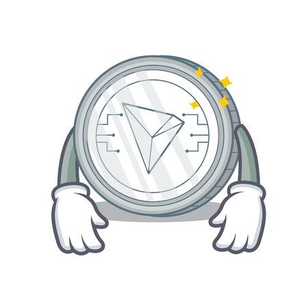 Tired Tron coin character cartoon vector illustration