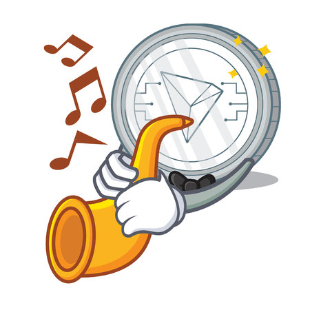 With trumpet Tron coin character cartoon vector illustration