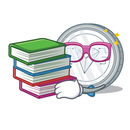 Student with book Tron coin character cartoon vector illustration