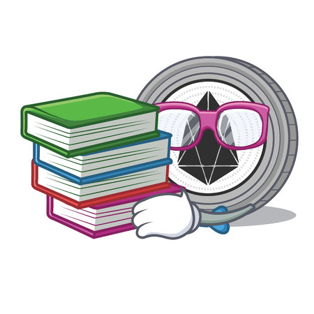 Student with book EOS coin character cartoon Vectores