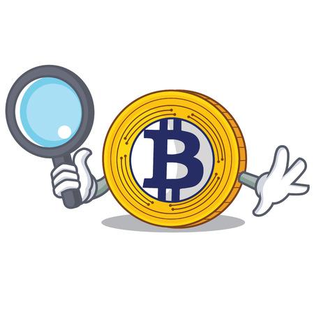 Detective Bitcoin Gold character cartoon 免版税图像 - 92328034