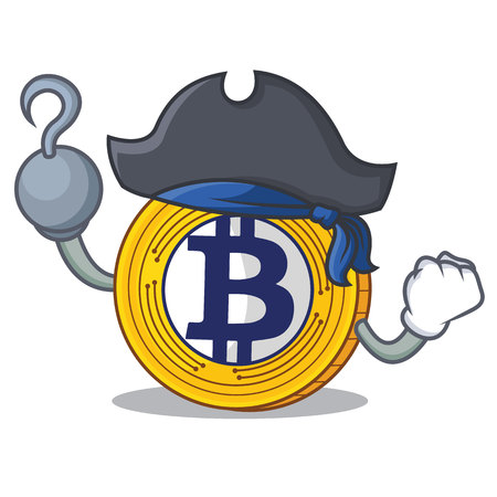 Pirate Bitcoin Gold character cartoon vector illustration Vettoriali