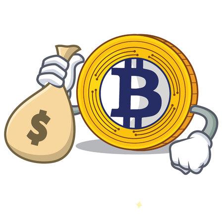 マネーバッグ付きゴールドキャラクター漫画ベクトルイラストビットコイン