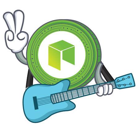 Met gitaar NEO munt karakter cartoon vector illustratie