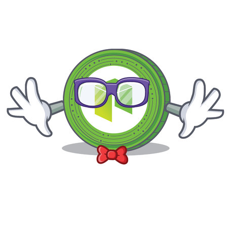 Geek NEO coin character cartoon vector illustration