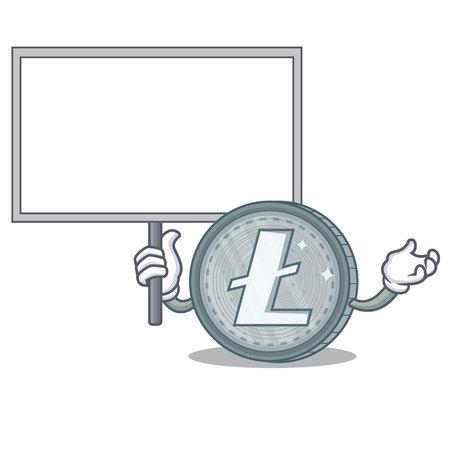 Bring board Litecoin character cartoon style vector illustartion Vector Illustration