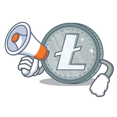 With megaphone Litecoin character cartoon style vector illustartion
