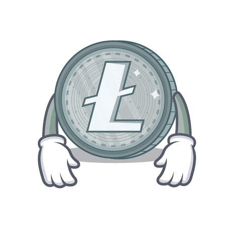 Tired Litecoin character cartoon style vector illustartion Ilustrace