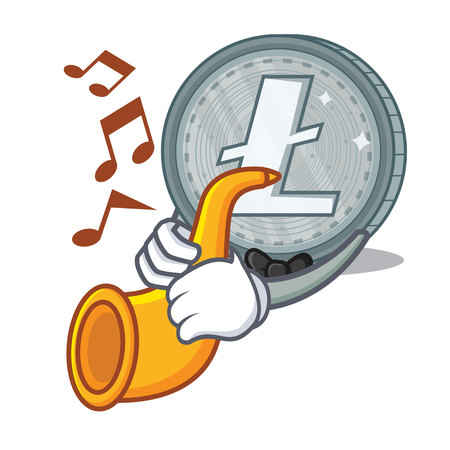 With trumpet Litecoin character cartoon style vector illustartion