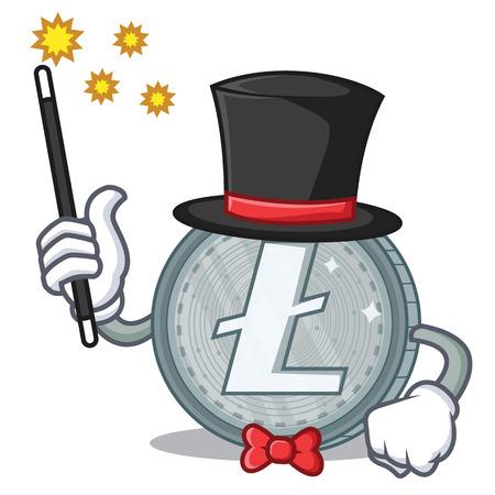 Magician Litecoin character cartoon style vector illustartion