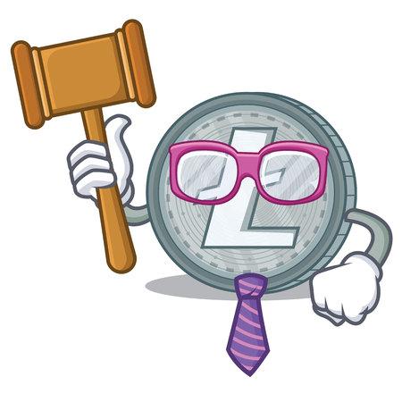Judge Litecoin character cartoon style vector illustartion Illustration