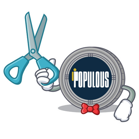 Barber populous coin character cartoon vector illustration